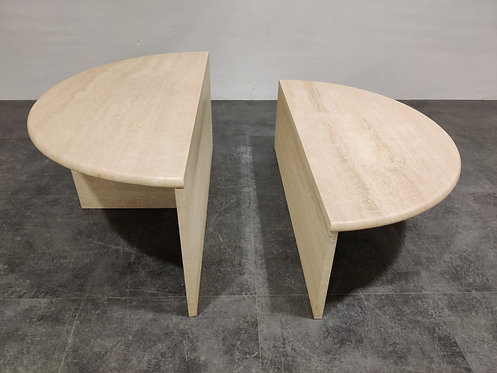 SOLD Pair of vintage travertine coffee tables or side tables, 1970s