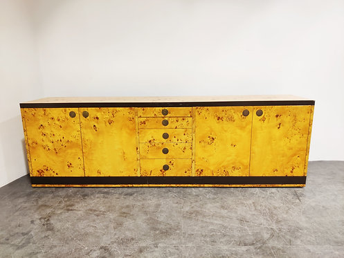 SOLD Vintage burl wood credenza by Willy Rizzo, 1970s