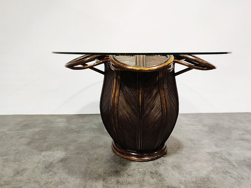 Vingtage bamboo dining table, 1970s
