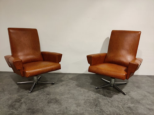 Pair of Vintage Skai and Chrome Swivel Chairs, 1960's Belgium