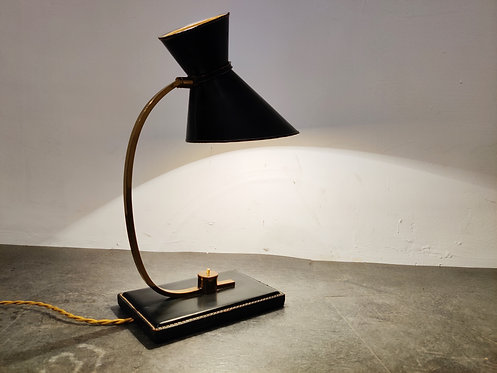 Vintage leather desk lamp by Adnet, 1950s