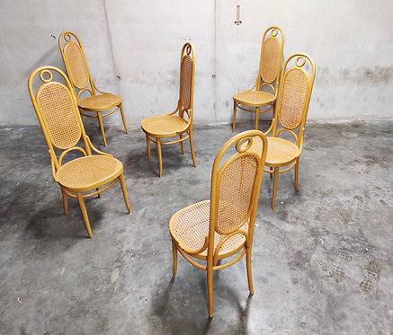 SOLD Thonet no. 17 dining chairs, set of six, 1980s
