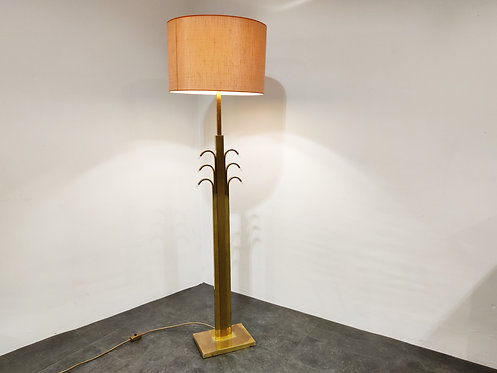 Vintage brass and glass floor lamp, 1970s