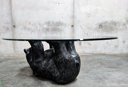 Unique Sculptural Black Bear Coffee Table, 1970s