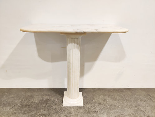 SOLD Vintage marble column console table, 1970s