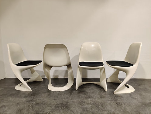 SOLD Set of 4 casalino dining chair by Alexander Begge for Casala, 1970s