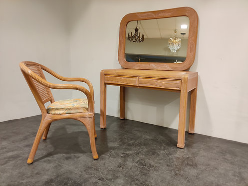 SOLD Vintage bamboo vanity table set, 1970s