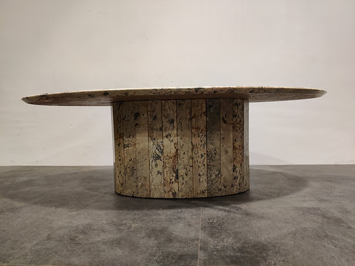 SOLD Vintage oval marble coffee table, 1970s