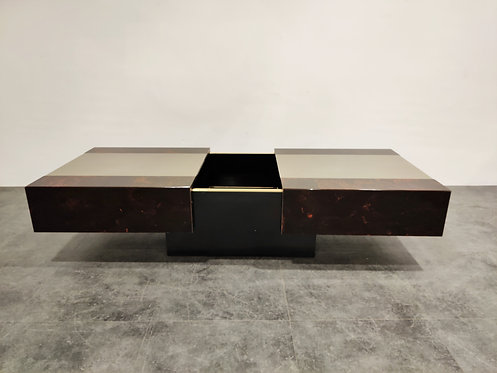 SOLDVintage hidden bar coffee table by Eric Maville and Jean Claude Mahey, 1970s