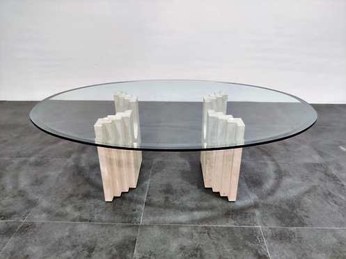Vintage travertine coffee table by Cattelan Italy , 1970s