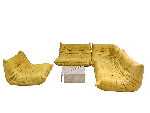 Modular 4-Piece yellow leather Sofa by Michel Ducaroy for Ligne Roset