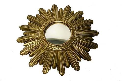 Small Mid century golden sunburst mirror, 1960s