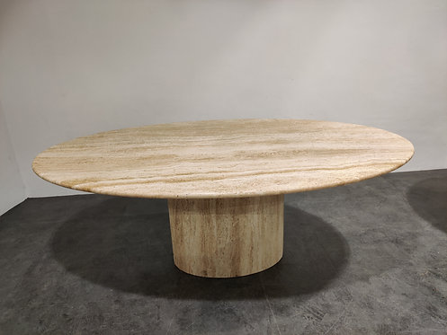 SOLD Vintage oval travertine dining table, 1970s