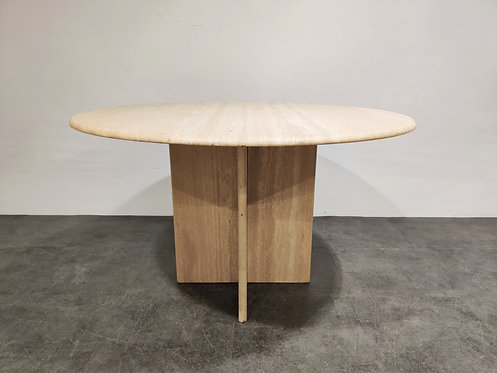 SOLD Round italian travertine dining table 1970s