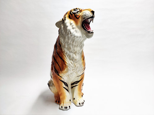 XXL Ceramic Hand Painted Tiger, 1970's Italy