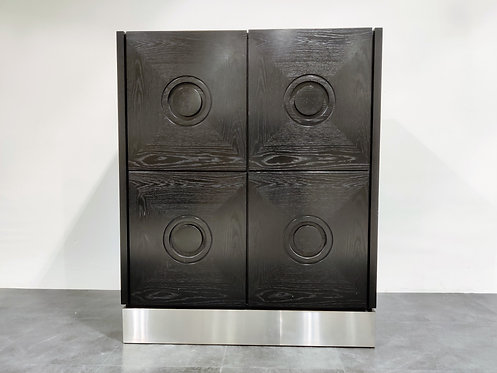 Black brutalist bar cabinet, 1970s