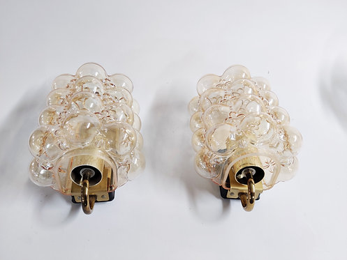 Pair of glass wall lights by Helena Tynell for Glashutte Limburg