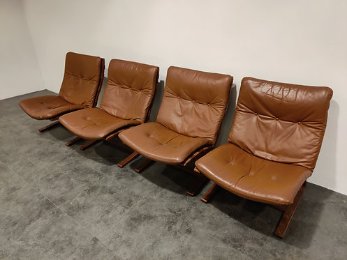 SOLD Vintage leather lounge chair by Ingmar Relling, 1970s