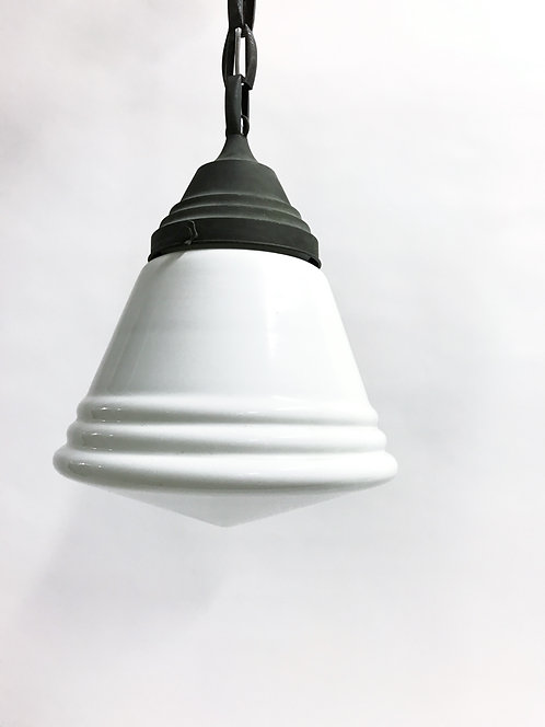 Antique stepped opaline pendant light 1930s