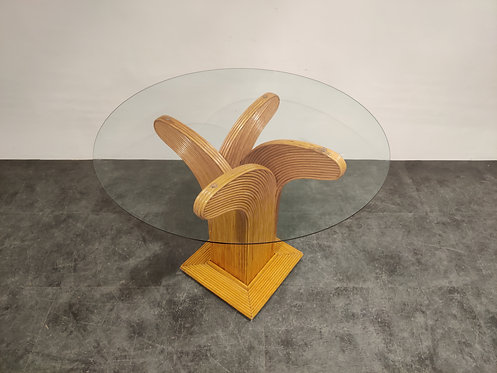 SOLD Bamboo dining table by Vivai Del sud, 1970s