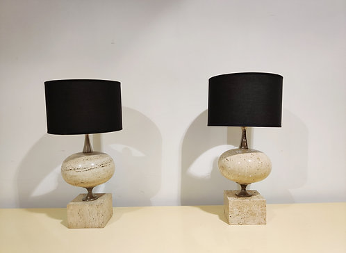 SOLD Pair of travertine table lamps by Maison Barbier, 1970s