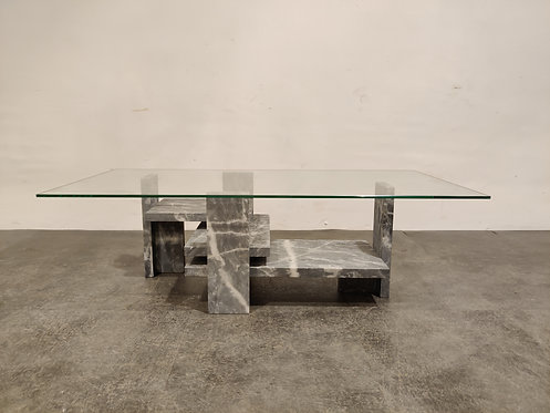 SOLD Vintage grey marble coffee table by Willy Ballez, 1970s