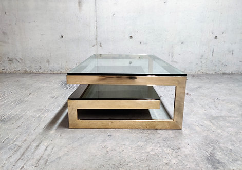 Vintage two tier belgochrom 23kt coffee table, 1970s