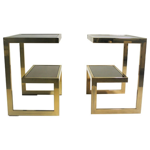 Golden G side tables by Belgochrom, set of two, 1970s