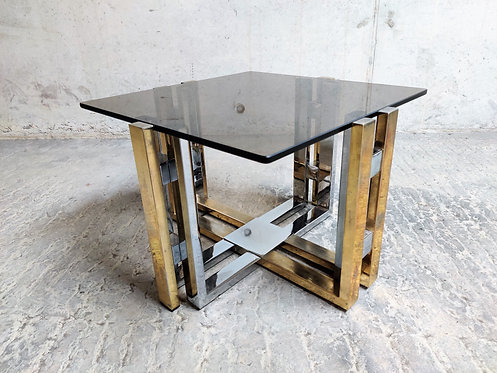 Vintage brass and chrome coffee table, 1970s
