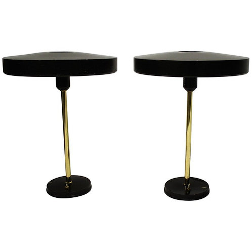 Louis kalff 'timor' table lamps, pair of 2, 1960s