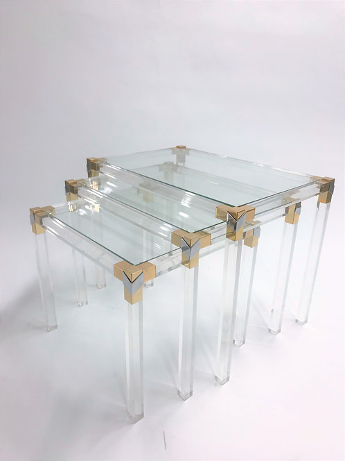Brass and lucite nesting tables, 1970s