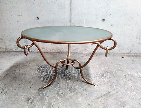 Wrought iron coffee table by René Drouet, 1940s