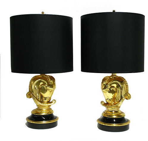 Pair of Hollywood Regency Brass Horse Head Table Lamps, 1970s