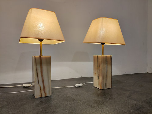 SOLD Pair of marble table lamps, 1960s
