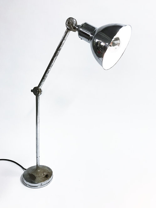 Vintage industrial chrome work light by AGI, 1930s