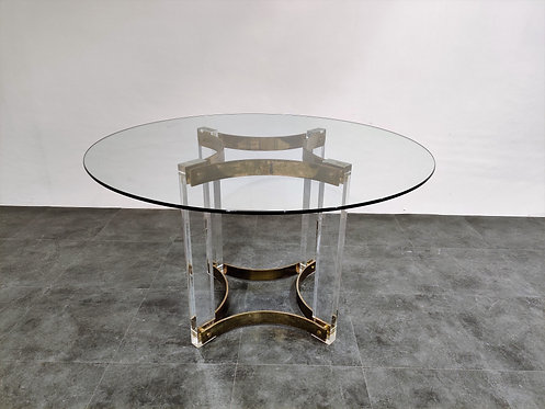 SOLD Vintage lucite and brass dining table, 1970s