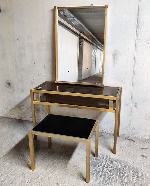 SOLD Brass console table with mirror and stool, 1970s