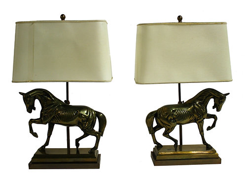 Pair of Cast Brass Horse Table Lamps in the Style of Maison Jansen, 1970 France