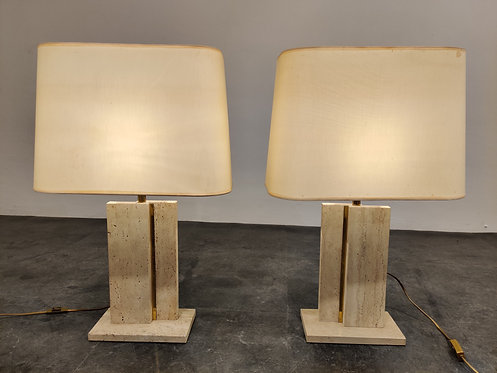 SOLD Pair of travertine and brass table lamps, 1970s