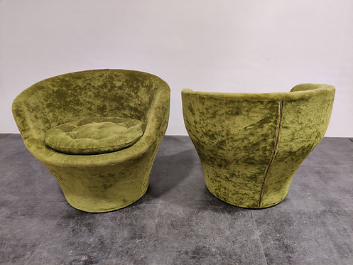 SOLD Vintage green velvet cocktail chairs, 1960s