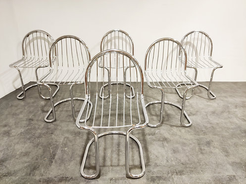 SOLD Vintage chrome cantilever dining chairs, 1970s