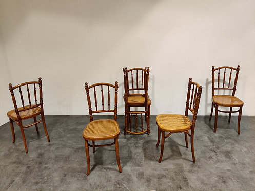 SOLD Set of 6 vintage bistro Chairs, 1950s