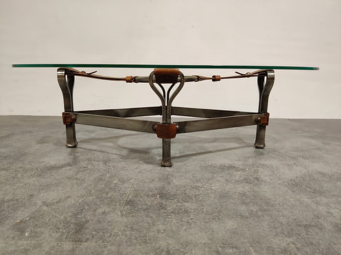 SOLD Midcentury Iron and Leather Coffee Table by Jacques Adnet, 1960s