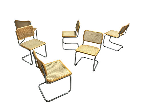 Vintage Marcel Breuer Cesca chairs, made in italy, 1970s