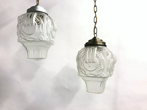 Glass art deco pendant lights, 1930s