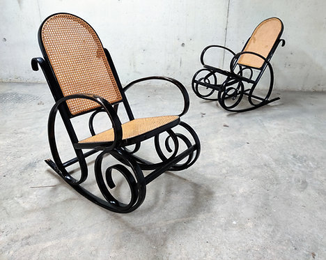 Pair of vintage thonet style rocking chairs, 1960s