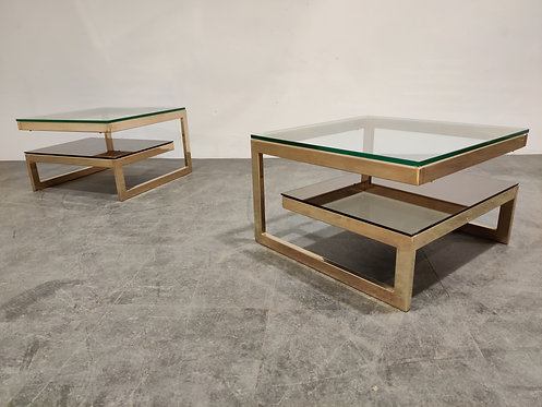SOLD Golden G side tables by Belgochrom, set of two, 1970s