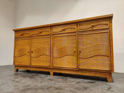 SOLD Vintage rattan and bamboo sideboard, 1970s