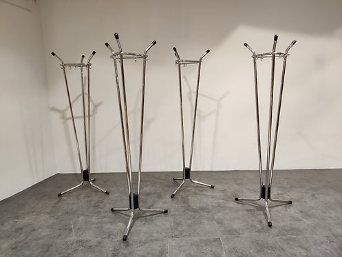 SOLD Vintage chrome coat stands by Willy Van Der Meeren for Tubax, 1970s