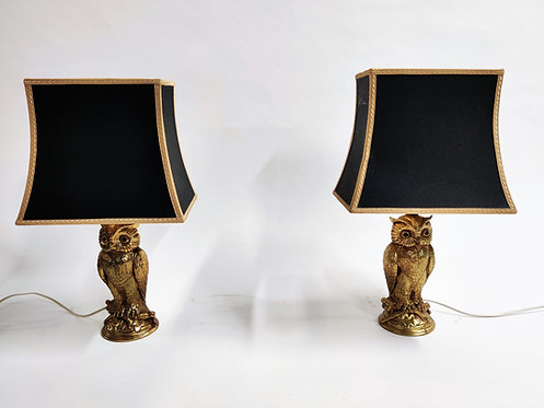 Pair of brass owl lamps by Loevsky & Loevsky, 1960s